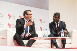IDRC President Jean Lebel with AIMS CEO Thierry Zomahoun at Next Einstein Forum