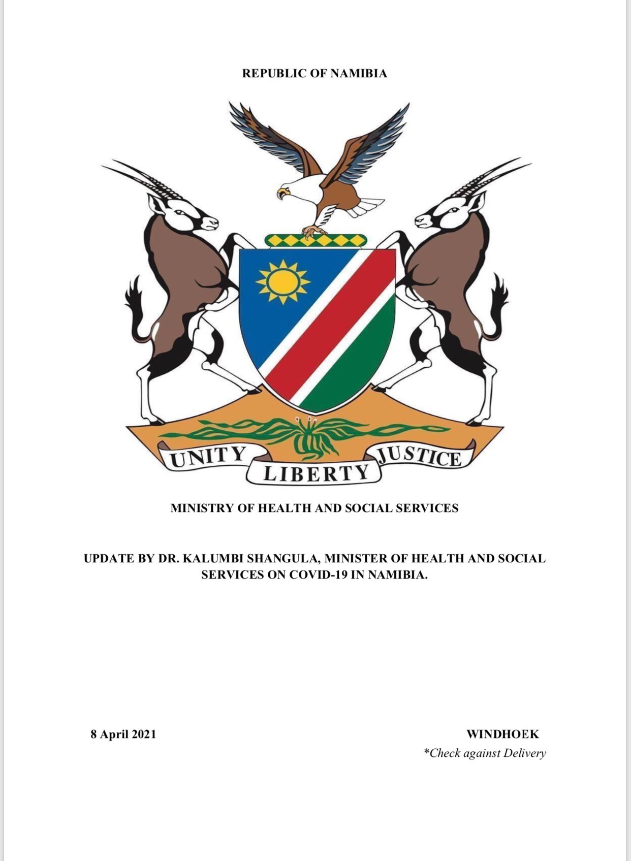 Ministry of Health and Social Services, Namibia