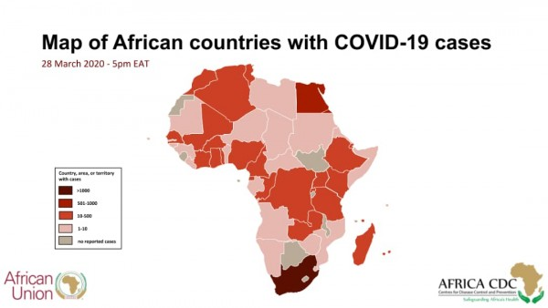 Map of African countries with COVID-19 cases (28 March 2020 – 5pm EAT)
