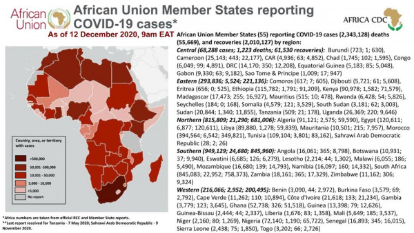 Coronavirus: African Union Member States reporting COVID-19 cases as of 12 December 2020, 9 am EAT