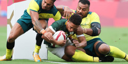 Ronald Brown in action at the Tokyo Olympics against Australia.jpg