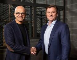 Microsoft CEO Satya Nadella (left), and Tony Bates, CEO of Genesys (right).JPG