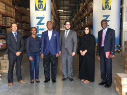 Mineral Circles Bearings' Michel Peltier (1st from left) and Hassanein Alwan (4th from left) with Du
