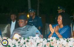 HE Julius Maada Bio and First Lady fatima Bio at the inaugural media cocktail.jpeg