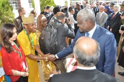 Current PAUWES students greet Moussa Faki Mahamat, Chairperson of the African Union Commission, duri